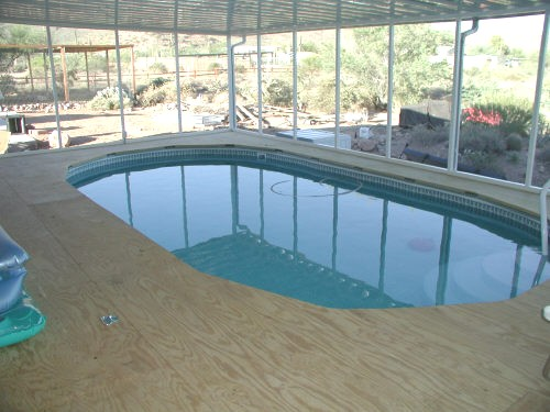 awning, swimming pool and deck