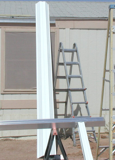 Awning gutter and aluminum w-pan