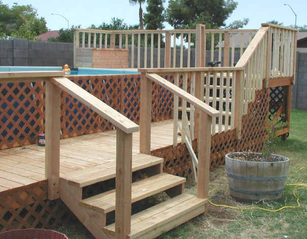 wood deck for above ground pool