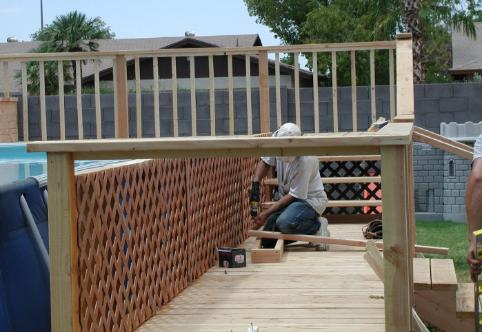 wood deck for above ground swimming pool