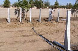 digging trenches for above ground pool brace assemblies