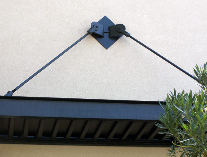Commercial Window Awning With Overhead Support