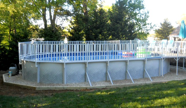 Oval Pool With Fencing