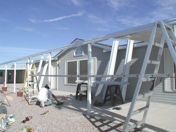 awning building tools in use