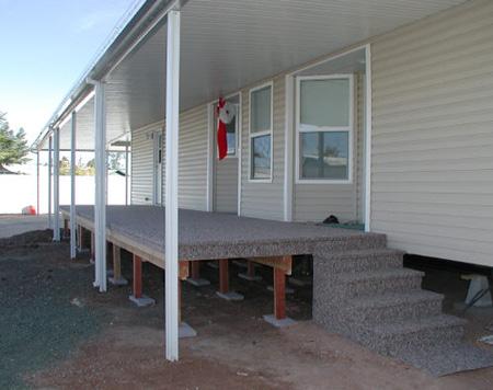 deck under flat pan awning