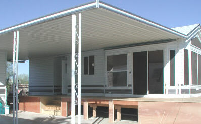 aluminum awning and wood deck