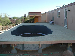 pool deck around above ground pool