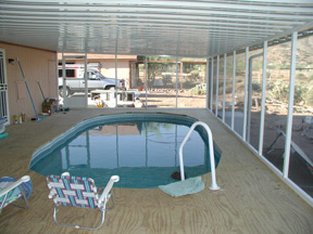 awning, deck and pool