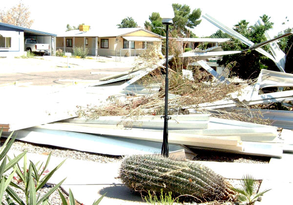 awning blown off mobile home