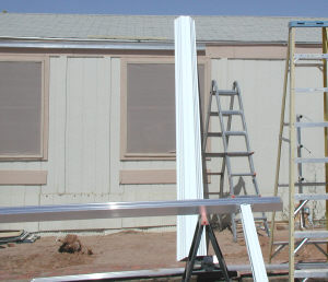 awning gutter and aluminum panel