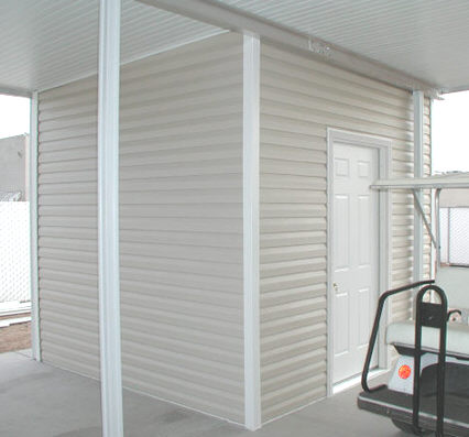 aluminum awning with shed