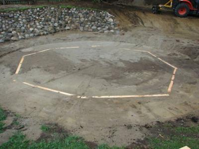Base for an above ground swimming pool