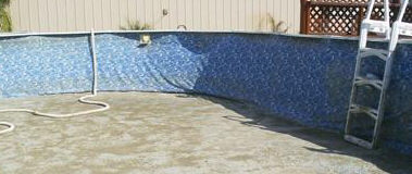 pool drained to clean