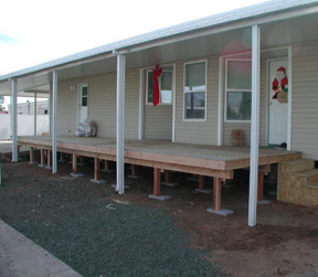 mobile home awning and deck