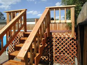 steps on wood pool deck