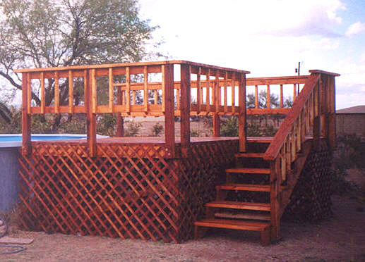 wood deck with redwood stain