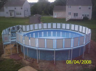 dirt against an above ground pool 21507228 Aluminum Above Ground Pools
