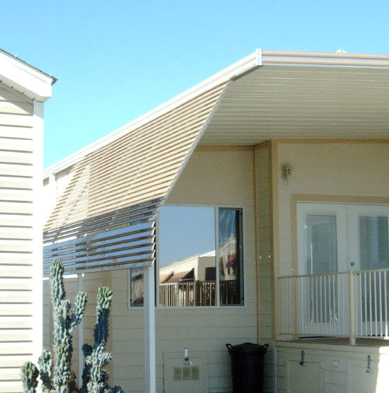flex pans attached to awning posts