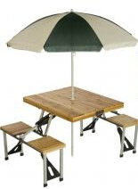 Portable Wooden Picnic Table with Umbrella
