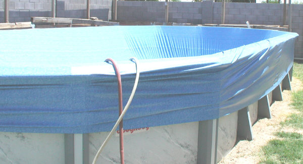 liner over pool frame