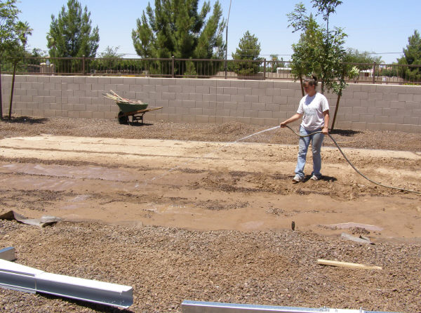 watering ground for above ground pool installation