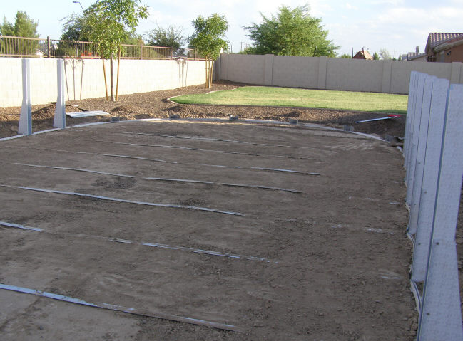 pool braces set in ground and straps connected