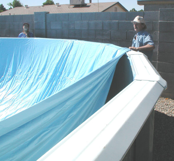 above ground pool overlap liner installation