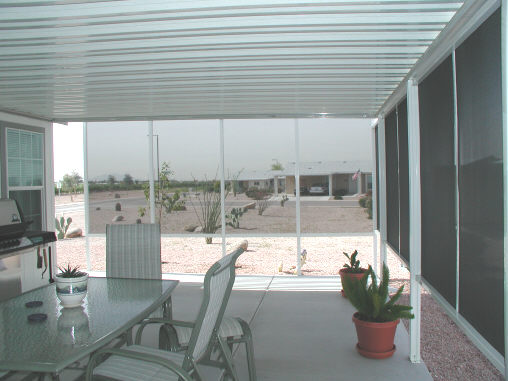 aluminum awning and shade screens