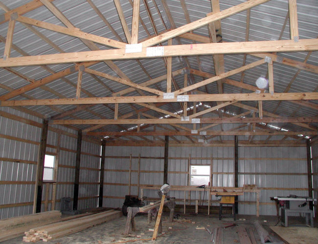 pole barn inside view