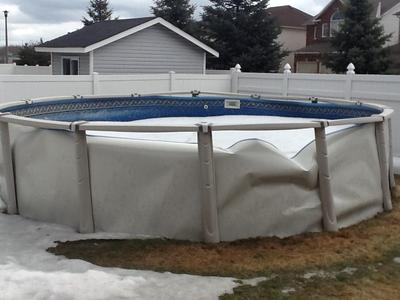 Bent pool wall Winter chemicals for swimming pools