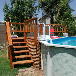 above ground pool and wood deck