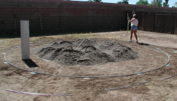 put sand in center