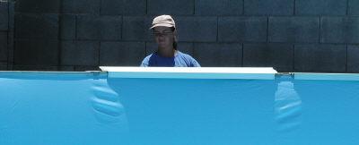 removing pool top rails