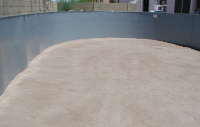 sand base ready for pool liner