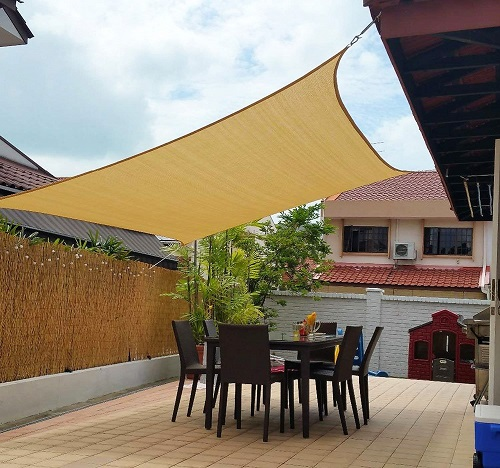 shade sail over patio