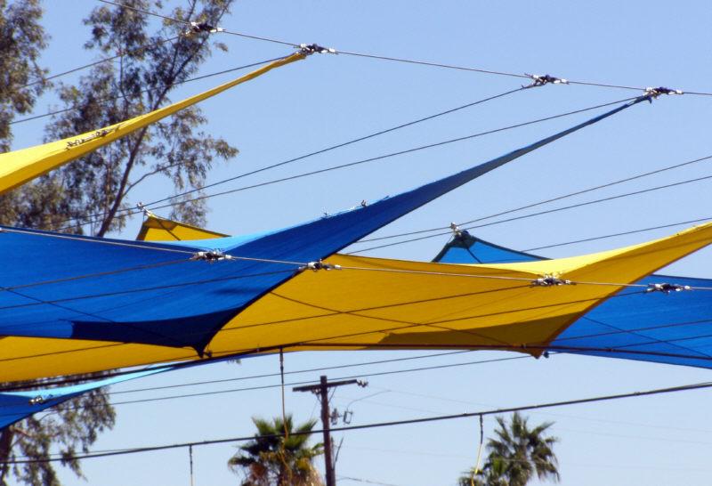 Shade Sail Structure Over Car Wash