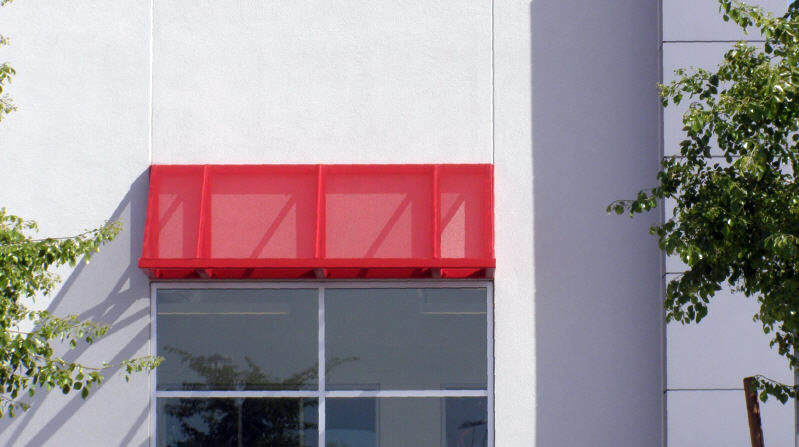 Red Steel Commercial Window Awning
