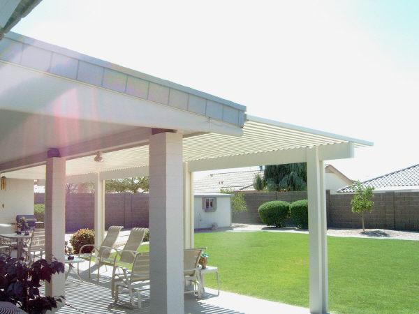 wood patio cover and lattice