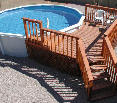 Pool questions index for How to build a wood deck around a round pool
