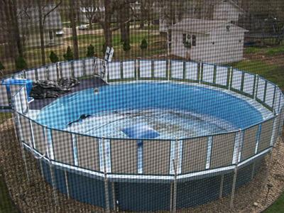 Above Ground Pool with Deck and Fencing