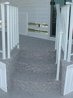 round steps on park model deck