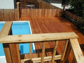 wood deck on soft side pool