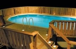 pool deck with lights