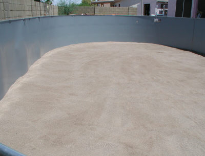 pool sand ready for liner