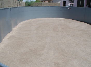 smooth sand base ready for liner