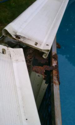 above ground pool top rail