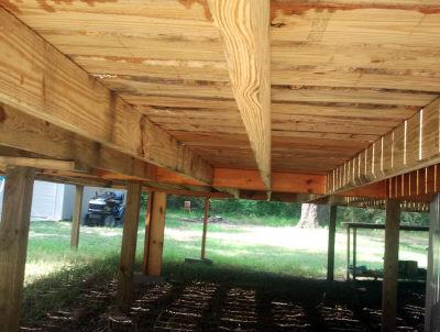 underside of above ground pool deck
